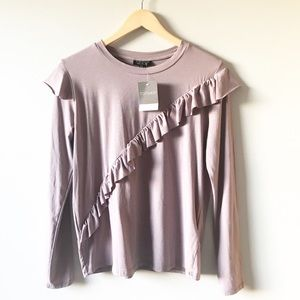 NWT TopShop Long Sleeve with Ruffle Detail
